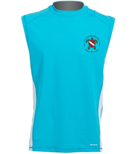 blue sleeveless rashguard black logo - Sporti Men's Sleeveless UPF 50+ Rash Guard