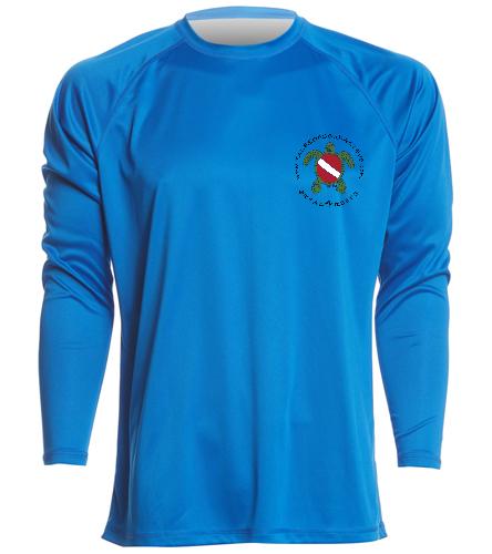 blue long sleeve rashguard black logo - Sporti Men's Solid L/S UPF 50+ Sun Shirt