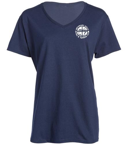 Swim Team T-Shirt women back - SwimOutlet Women's Cotton V-Neck T-Shirt
