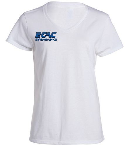 ECAC WHITE - SwimOutlet Women's Cotton V-Neck T-Shirt