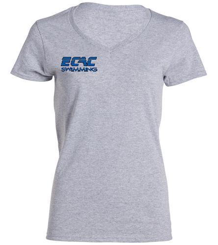 ECAC GRAY - SwimOutlet Women's Cotton V-Neck T-Shirt