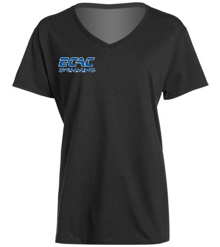 ECAC BLACK - SwimOutlet Women's Cotton V-Neck T-Shirt