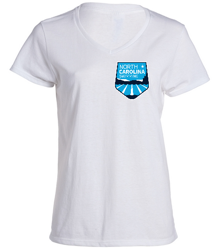 NCS White V Neck T Shirt - Women's - SwimOutlet Women's Cotton V-Neck T-Shirt