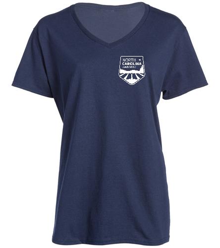 NCS Navy V Neck T Shirt - Women's - SwimOutlet Women's Cotton V-Neck T-Shirt