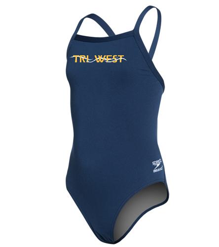 TRIW - Speedo Girls' Solid Endurance + Flyback Training Swimsuit
