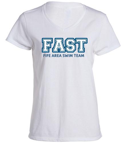 FAST T-Shirt  - SwimOutlet Women's Cotton V-Neck T-Shirt