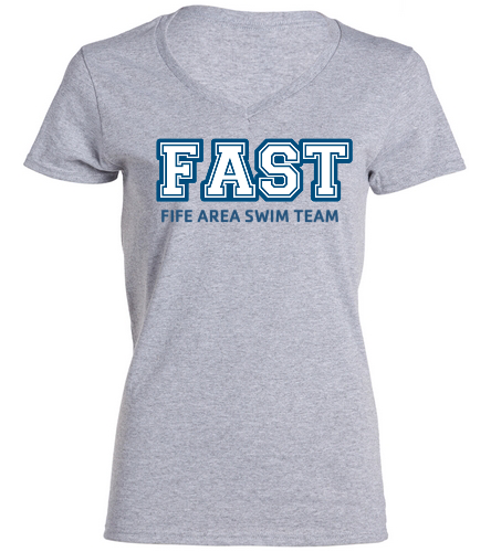 FAST Grey T-Shirt Women's  - SwimOutlet Women's Cotton V-Neck T-Shirt