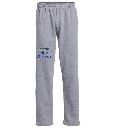 Sharks Open Bottom Sweatpants - SwimOutlet Heavy Blend Unisex Adult Open Bottom Sweatpants