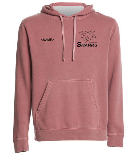 Sharks Midweight Dyed Hoodie - SwimOutlet Unisex Midweight Pigment Dyed Hooded Sweatshirt