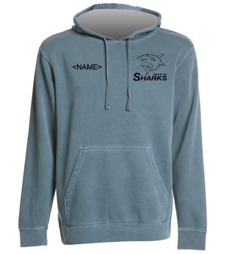 Sharks Midweight Dyed Hoodie Slate Blue - SwimOutlet Unisex Midweight Pigment Dyed Hooded Sweatshirt