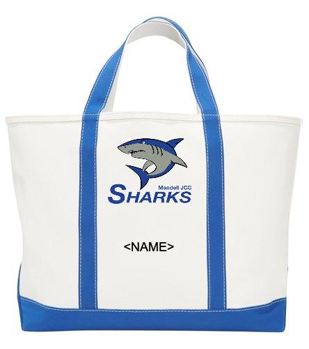 Sharks Beach Tote Bag - Sporti Zip Top Canvas Beach Tote Bag