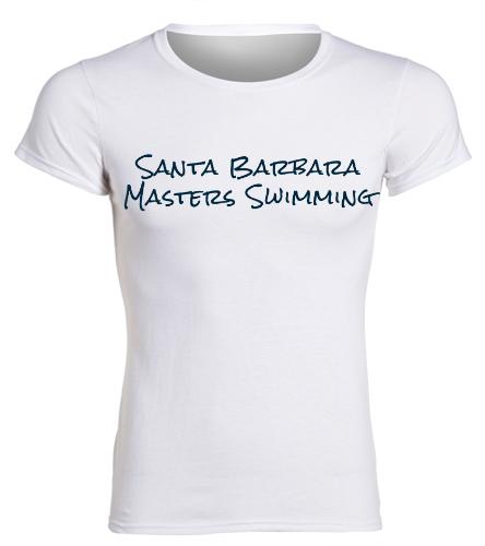 SBMS White Navy - SwimOutlet Women's Cotton Missy Fit T-Shirt