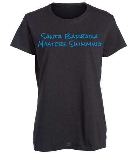 SBMS Black Blue - SwimOutlet Women's Cotton Missy Fit T-Shirt