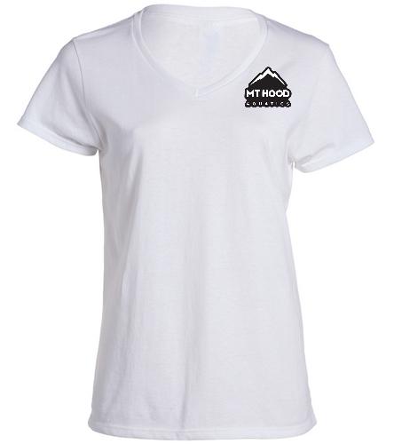 White V-neck MHA Womens Tee - SwimOutlet Women's Cotton V-Neck T-Shirt