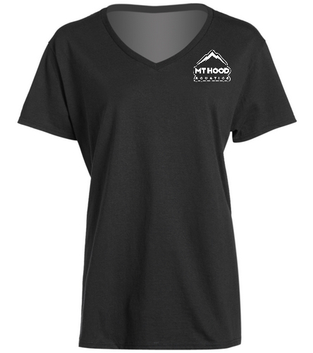 Black MHA Womens V-neck Tee - SwimOutlet Women's Cotton V-Neck T-Shirt