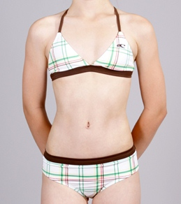 O'Neill Ringer Plaid Youth Girls' Banded Triangle Bra & Retro Pant
