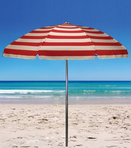 Frankford Umbrellas 7.5' x 8 Panel Acrylic Beach Umbrella w/Wood Center Pole