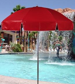 Frankford Umbrellas 6.5' x 6 Panel Vinyl Lifeguard Umbrella w/Aluminum Center Pole