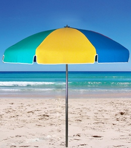 Frankford Umbrellas 7.5' x 8 Panel Acrylic Beach Umbrella w/Wood Center Pole