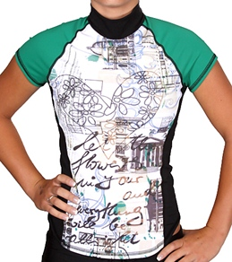 Girls4Sport Riviera Short Sleeve Rashguard With Shelf Bra