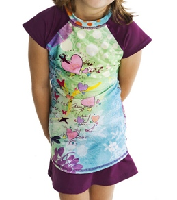 Girls4Sport Youth Fairy Garden Cap Sleeve Rashguard