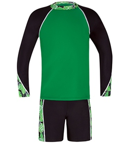 Tuga Boys' Pipeline L/S Rash Guard w/ Wipe Out Shorts Set