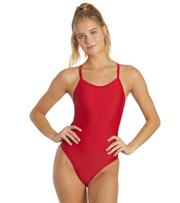 Sporti Solid Thin Strap Swimsuit