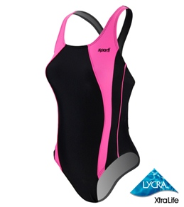 Sporti Neon Piped Splice Wide Strap Swimsuit