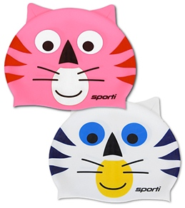 Sporti Cartoon Cat Silicone Swim Cap Jr.