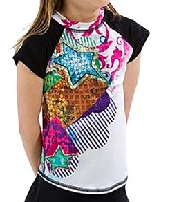 Girls4Sport Youth Aqua Pop Star Cap Sleeve Rashguard