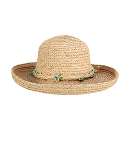 Sun N Sand Twisted Shell Trim Straw Hat