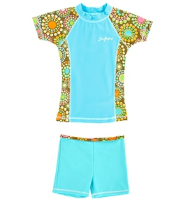 SunBusters Girls' Fitted Rash Guard Set