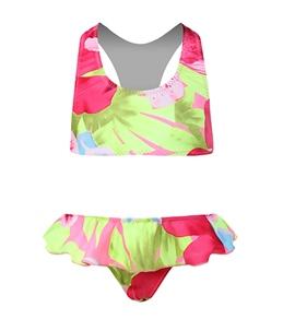 Tidepools Girls' Hanalei T-Back Bikini Ruffle Set