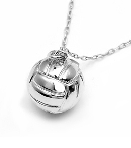 Sports Collection Jewelry Large Water Polo Ball Pendant Rhodium Plated