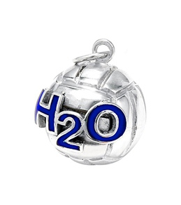 Sports Collection Jewelry Large Water Polo Ball with H2O Pendant Rhodium Plated