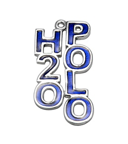 Sports Collection Jewelry Blue Enamel H2O Polo Charm Rhodium Plated