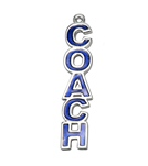 Sports Collection Jewelry Blue Enamel Vertical COACH Charm Rhodium Plated
