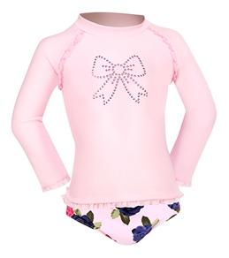 Seafolly Baby/Toddler Girls' Sunday Rose L/S Rash Guard Set