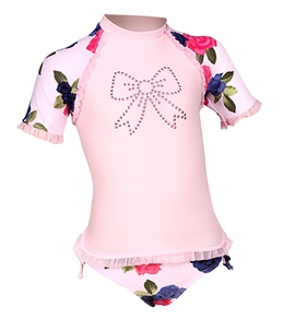 Seafolly Girls' Sunday Rose S/S Rash Guard Set