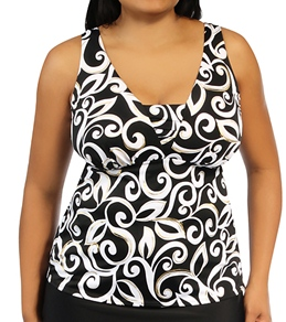 Miraclesuit Curly Cue Lagoon Plus Size Tankini Top