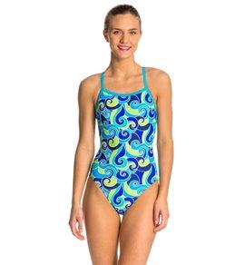 Waterpro Swirls Blue One Piece Swimsuit