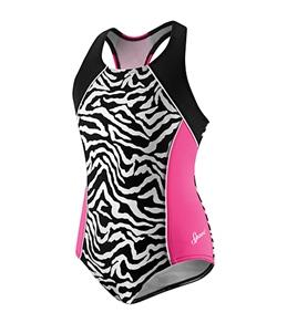 Speedo Girls' Zebra Side Splice Racerback