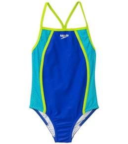 Speedo Girls' Mesh Splice 1 Piece
