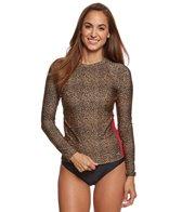 EQ Swimwear Women's Long Sleeve Cheetah Print Rashguard