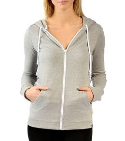 Hurley Girls' Solid Slim Fleece Zip Up Hoodie