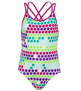 Nike Swim Girls' Fragmented Dot Spiderback Tank 1 Piece