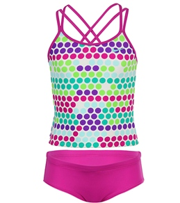 Nike Swim Girls' Fragmented Dot Spider Back Tankini 2 Piece