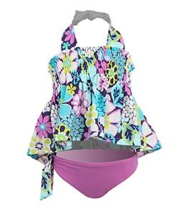 Beach Rays Girls' Floral Tankini Set