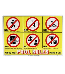 "Poolmaster ""Icon Pool Rules"" 18"" X 12"" Sign"