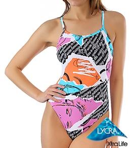 Sporti 80's Graffiti Thin Strap Swimsuit